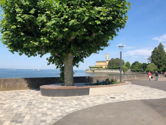 euroform w - urban furniture - custom-made - Organic bench around tree - big planter by the lake - seating island on public square on promenade