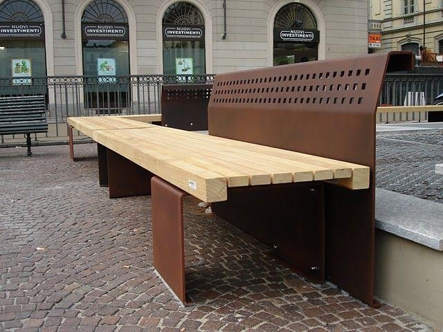euroform w - urban furniture - park bench seating wood - Linea 385