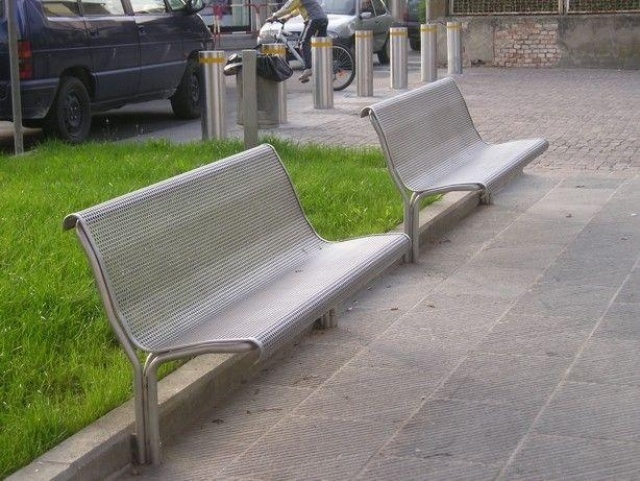euroform w - urban furniture - park bench stainless steel - seating - urban furniture in stainless steel