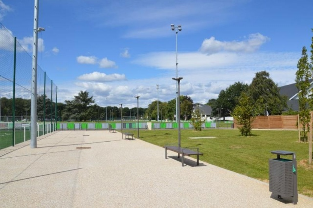 euroform w - urban furniture - sustainable wooden benches for public place - seatings at sports centre  - customized