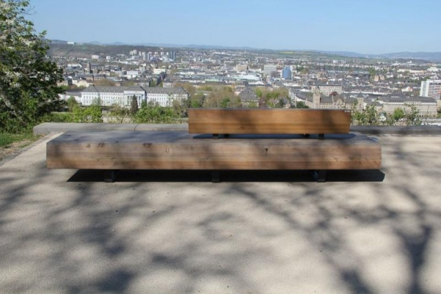 euroform w - street furniture - minimalist bench made of solid wood near Koblenz monastery - park bench wood - designer furniture for public spaces - customized bench